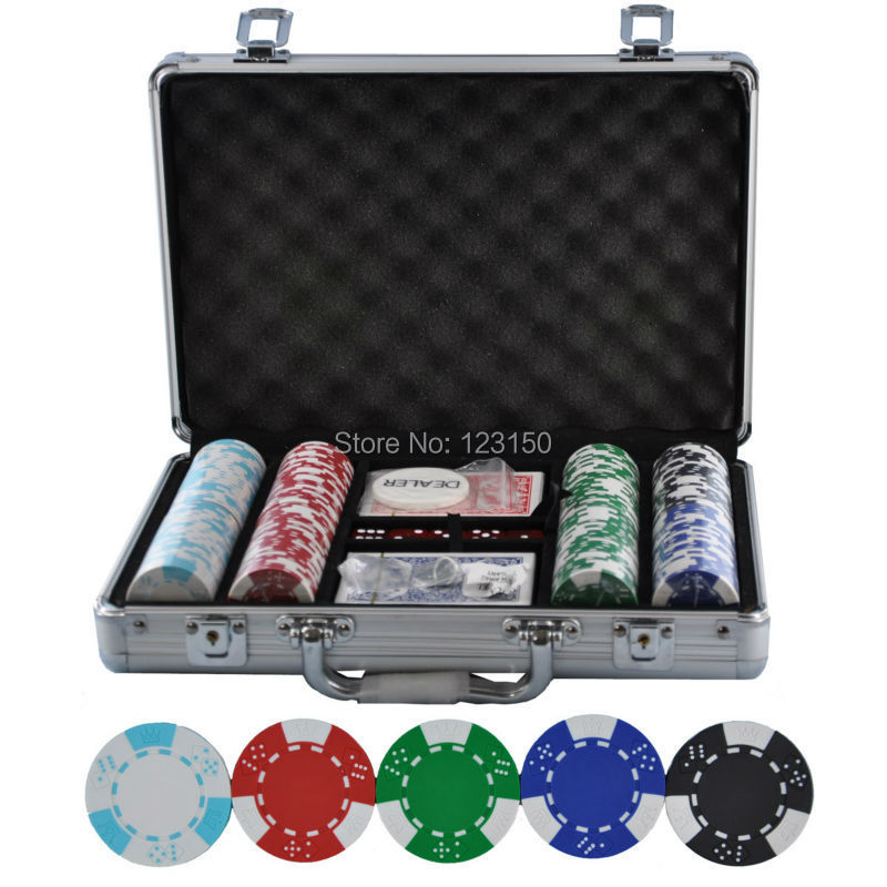 PK-5002  200pcs chips with case,  Clay 14g Poker Chips insert metal, five  colors<br><br>Aliexpress
