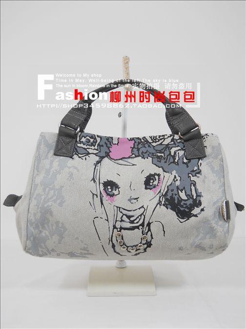 free shipping men bag Handbags rivets canvas bag sweet lady bag fashion Rose Fairy cartoon authentic handbags 1130 gray(China (Mainland))