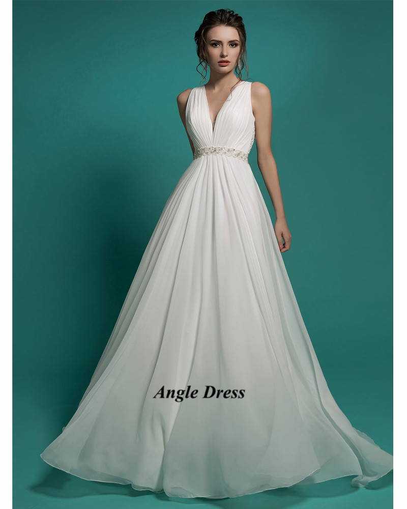 Vestido de noiva praia white cheap beach wedding dress for Cheap chiffon wedding dresses