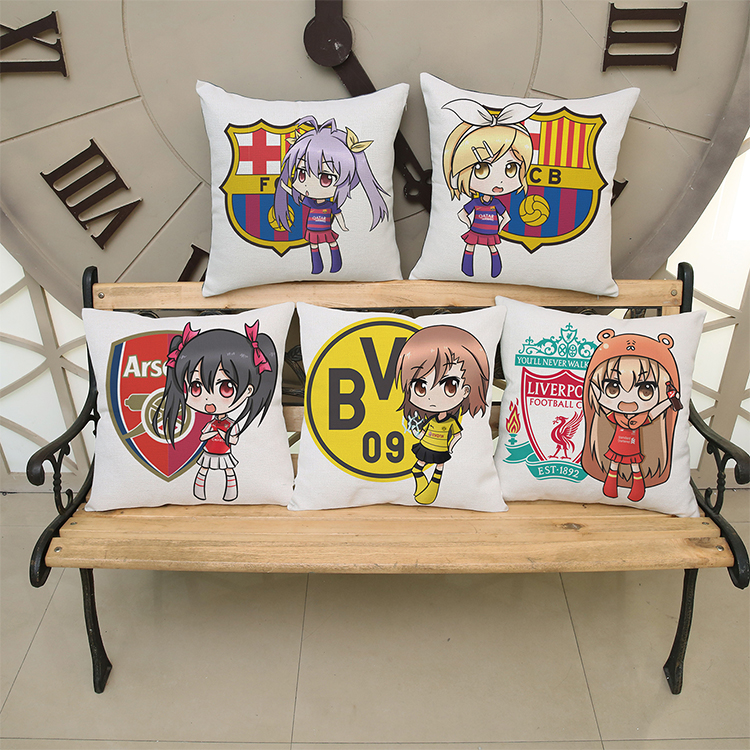 luxury home decoration outdoor Car sofa seat cushion cushions pillow Cartoons Barcelona Real Madrid soccer club Chelsea pattern(China (Mainland))