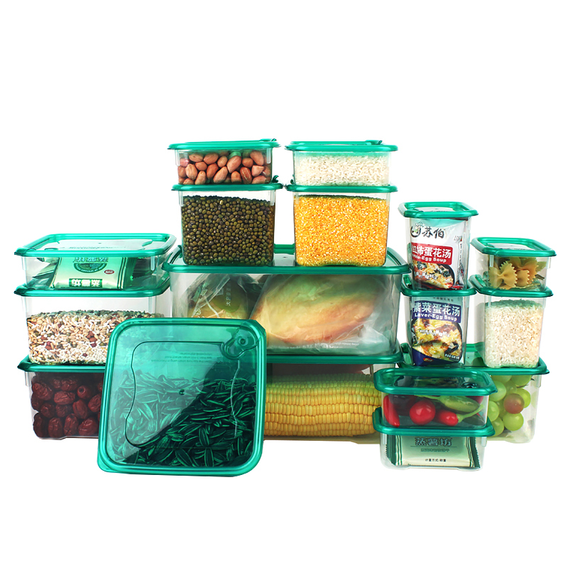 17 Pieces Set Kitchen Storage Boxes Bento Lunch Box Plastic Storage Containers with Lids Food Cereal Coffee Container Freezer(China (Mainland))