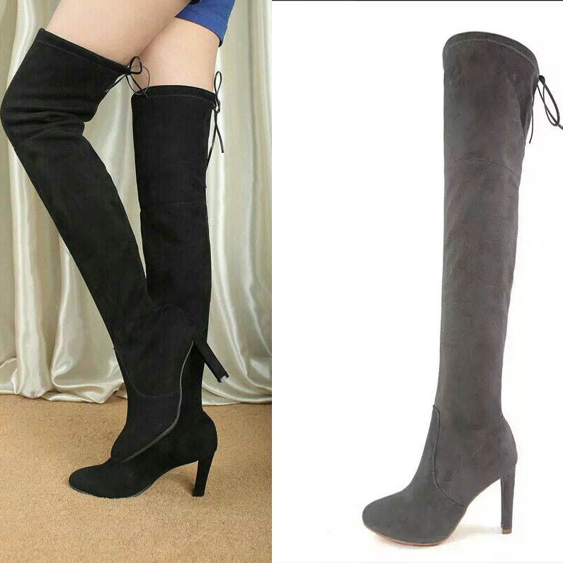 Ladies Fashion Brand Knee Suede Womens Boots Genuine Leather Platform Over Knee Thigh Spring/Autumn/winter High Heel&Flat Boots