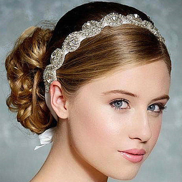 [해외] Fashion romantic crystal bridal hairband  ribbon ha..