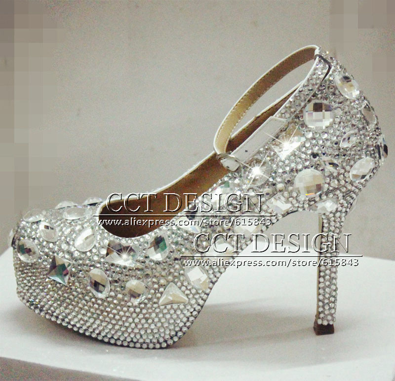 free shipping luxury customized white rhinestone high heels diamond wedding bridal shoes with ankle strap evening party pumps(China (Mainland))