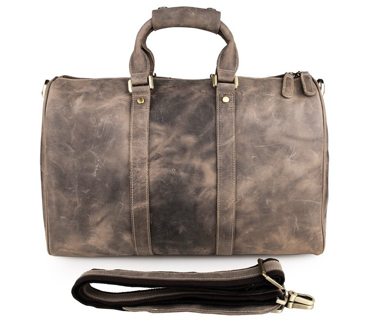Free Shipping Crazy Horse Leather Unique Tote Bag Handmade Travel Bags Overnight Bag #7077J(China (Mainland))