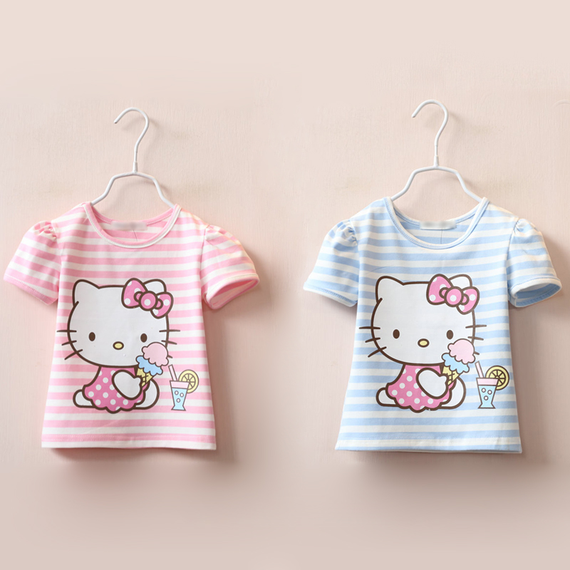 girl kids t shirt tops 2016 striped cute toddler cartoon tees 110 pink hello kitty clothing(China (Mainland))