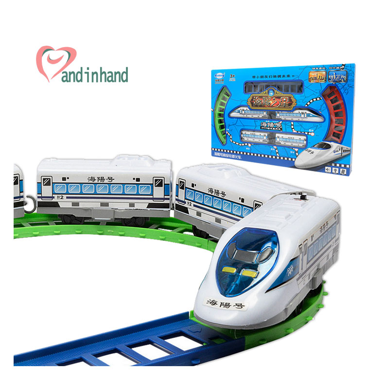 Kids Toy Electric Train Railway Model Toy Vehicle 8 Railway + 4 Trains Scale Model Toy For Boy Children Juguetes Birthday Gift(China (Mainland))