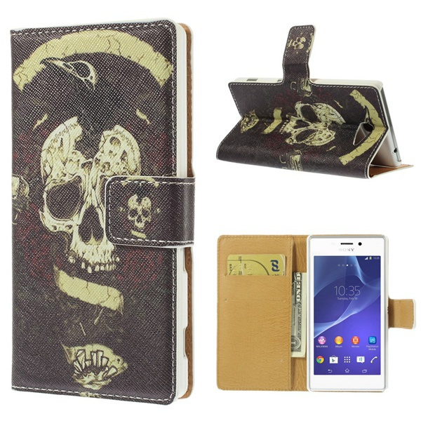 Sony Xperia M2 Texture Leather Stand Folio Shell Card Slots Tulip & Eiffel Tower Cross - Iacebox Co.,Ltd (HK store)
