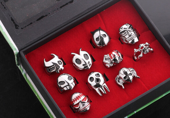 Hot Anime Cosplay Mix Design Anime Bleach One Piece Death Note Rings Set 10pcs/box(China (Mainland))