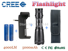 xml-t6 4000LM  high power led torch E6 lantern zoomable flashlight + 2*18650 5000mAh Battery + Charger + Holster(China (Mainland))