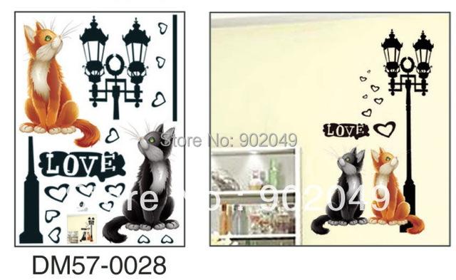 Hot 50x70cm Love Cat Cartoon Children Room Background Wall Sticker - Instant Sticker KW-DM57-0028