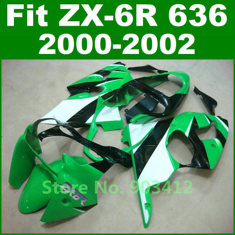 2000 2001 2002 ZX6R fairings , for Kawasaki Ninja 636 green white fairing kit 00 01 02 G12F free customize bodywork(China (Mainland))
