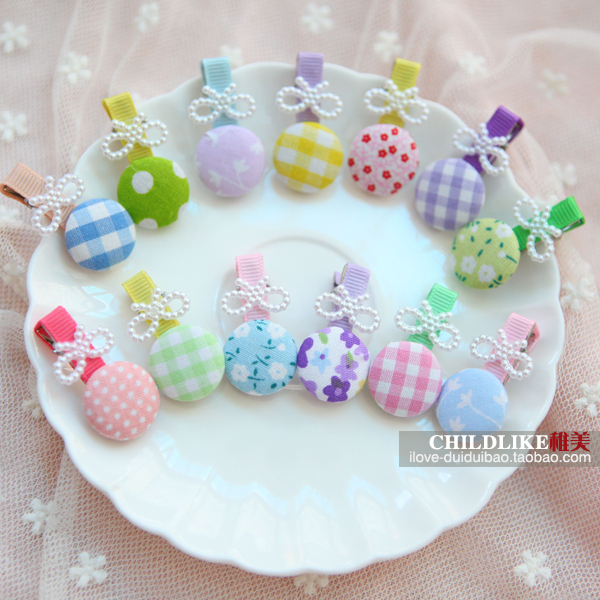 women hair clip,decorated flower bow barrettes,7cm length,fashion zakka style,mix colors packing,1000pcs/lot(China (Mainland))