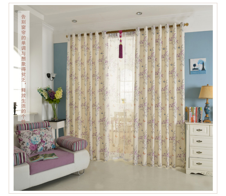 Custom curtain bedroom room linen finished fabric Rural cotton and linen wave window(China (Mainland))
