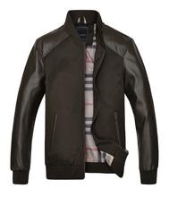 New Fashion Men s PU Leather Slim Casual Jacket 2015 Men Brand Collar Man Splicing Jackets