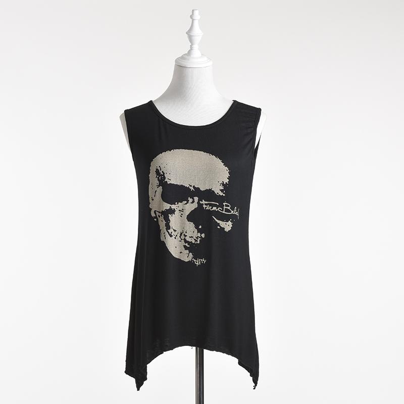 Панк череп печать t - рубашки женщины / длинная кисточка без рукавов t - рубашки женщины / свободного покроя лето женщины одежда размер