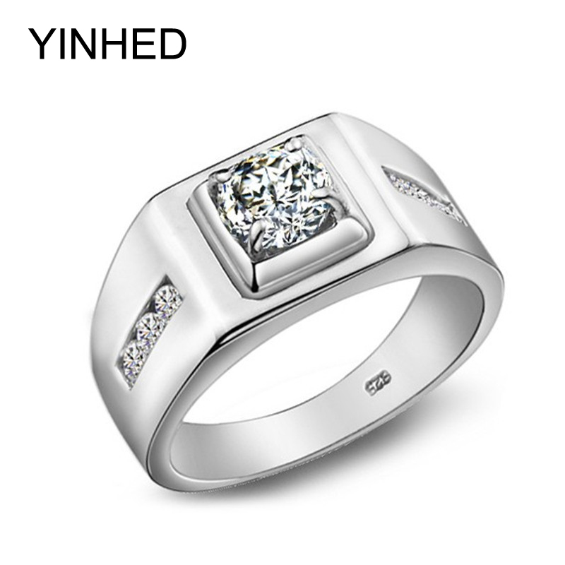 YINHED Luxury Wedding Rings For Men 100 925 Sterling Silver Ring 6mm Cubic Zircon CZ Diamond
