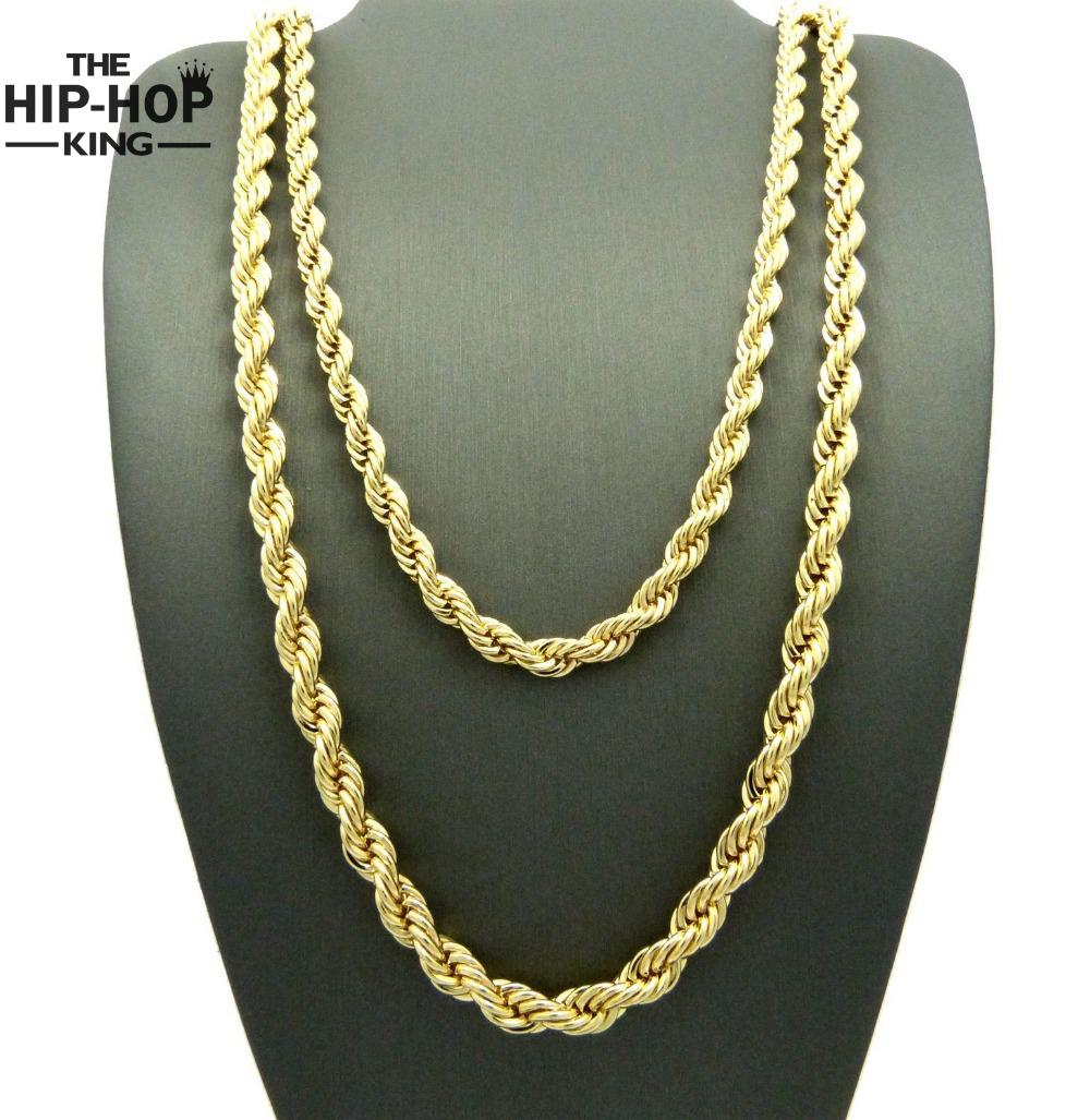 hip hop rappers 3mm 30quot rope chain mens 14k yellow gold