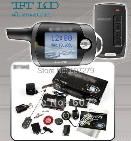 color LCD screen two way auto security system push button engine start stop PKE keyless entry