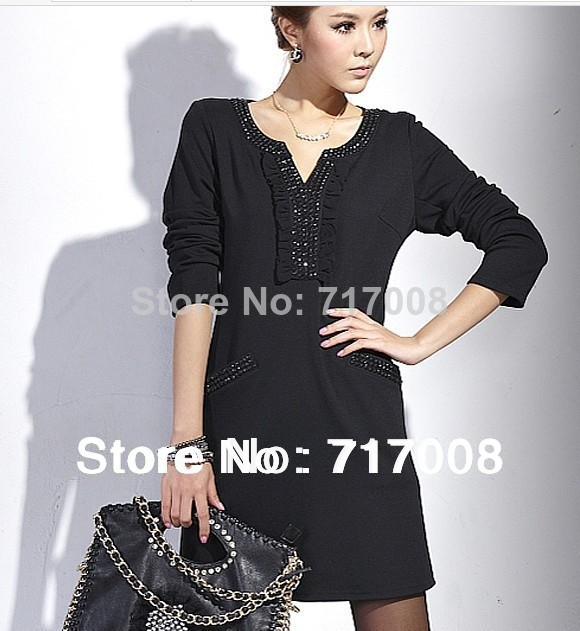 2015 brand fashion spring autumn plus size women clothing casual dress one-piece slim black - Brand Big Size(M-6xl store Women's Clothing)
