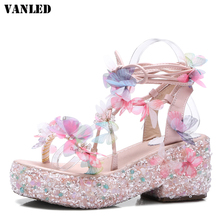 Buy VANLED Crystal Women Sandals Bling Platform Sandals Flat Sandalias Mujer High Heels Sandals Women Brand Shoes Sandal Shoes for $51.80 in AliExpress store