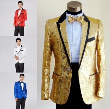 2015 Men fashion 5 color sequins light suit Male singer dj Host formal dress costume mens clothing set paillette suits blazerОдежда и ак�е��уары<br><br><br>Aliexpress