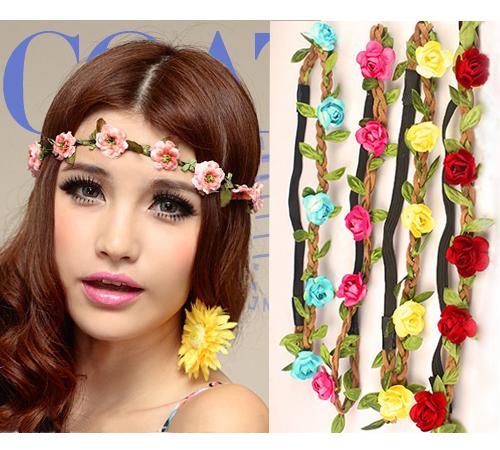 2016 new style Wholesale Bohemian Headband HAIRBANDS ROSE Flower Braided Leather Elastic Headwrap hairband Hair Ornaments(China (Mainland))