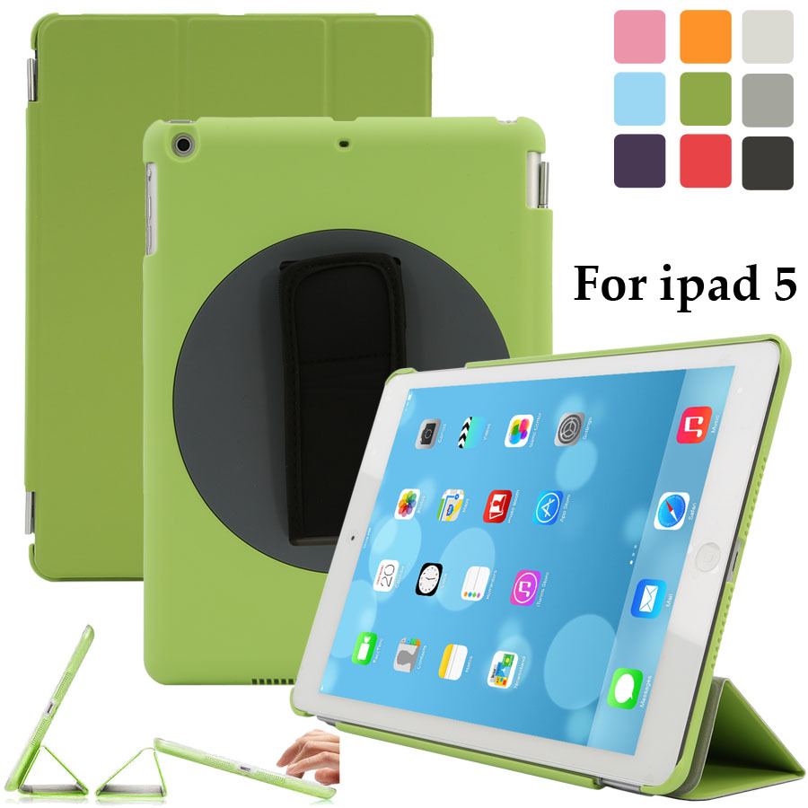 For Apple iPad Air Smart Case 360 Rotating Handle Strip Stand Cover for iPad 5 Leather Magnetic Case(China (Mainland))