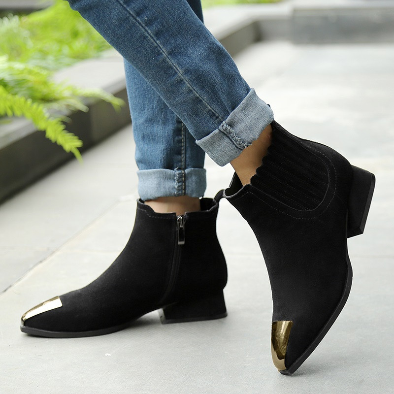 Knight boots 2016 Natural leather latest models Metal decorative toe Scrub Cattle suede Woman shoes Warm fashion hot new product