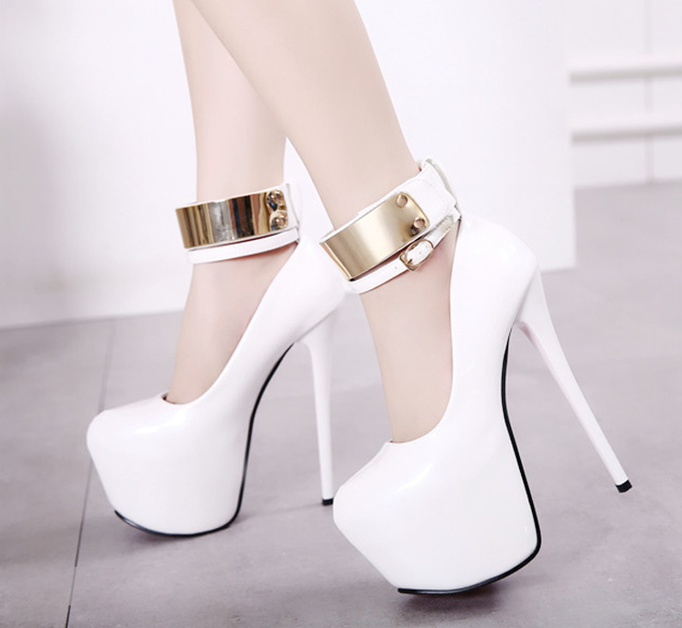 HTB1fmLpPFXXXXXpaXXXq6xXFXXXH - New red women patent leather pumps sexy platform high heels elegant bridal shoes Gold ankle buckle stiletto shoes White black