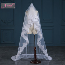 New 2016 Real Images High Quality 3-Meter One Layer Elegant Luxury Long Wedding Veil Bridal Veils Sequins Lace Veil Without Comb(China (Mainland))