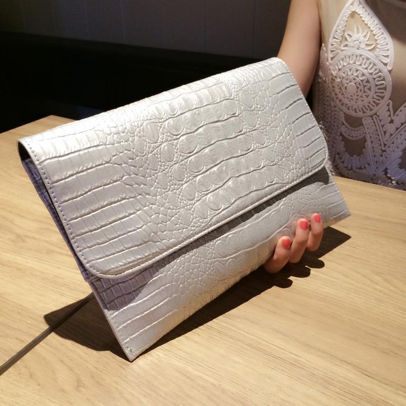 Evening Women Bags 2016 Genuine Leather Women Evening Bag Luxury Clutch Crocodile Designer Envelope Woman Handbag Shoulder Bags(China (Mainland))