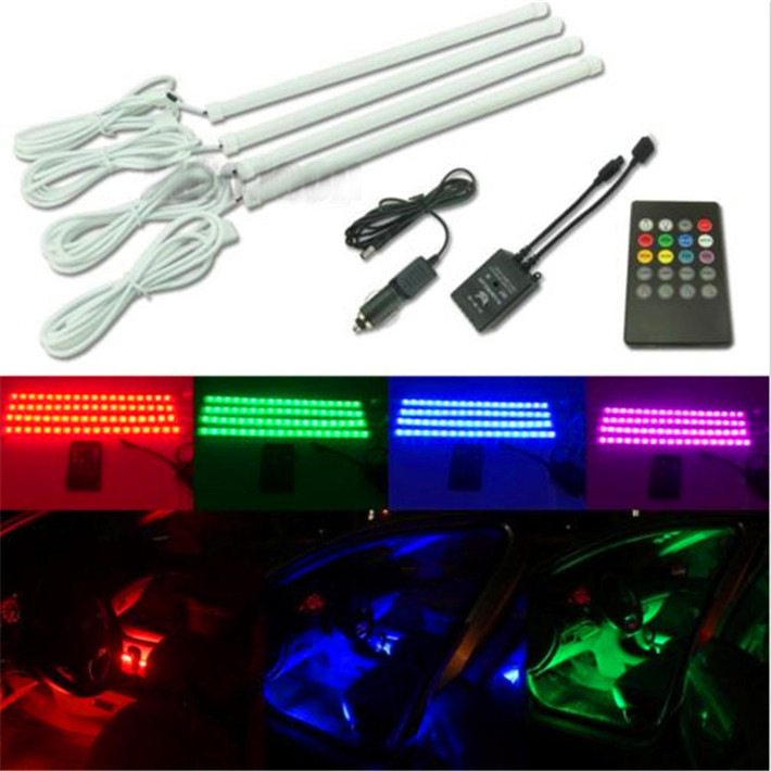 4X 30cm LED strip Car styling Air atmosphere interior Car light RGB 8 color Ambient Infrared remote Wireless Music control(China (Mainland))