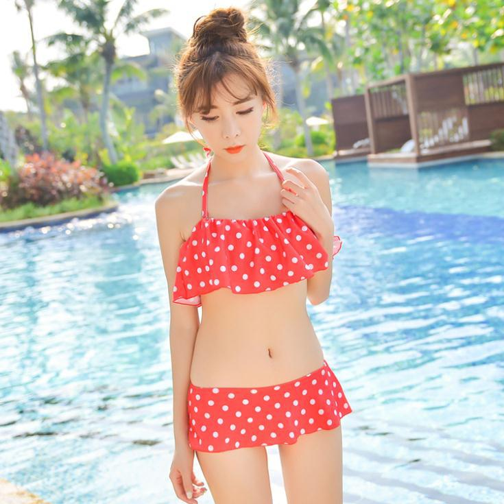 2015 Teenage Girl/Female Swimwear Conservative Skirt Two Piece Retro Polka Dots Bikinis Set Hot Summer  -  xojk store
