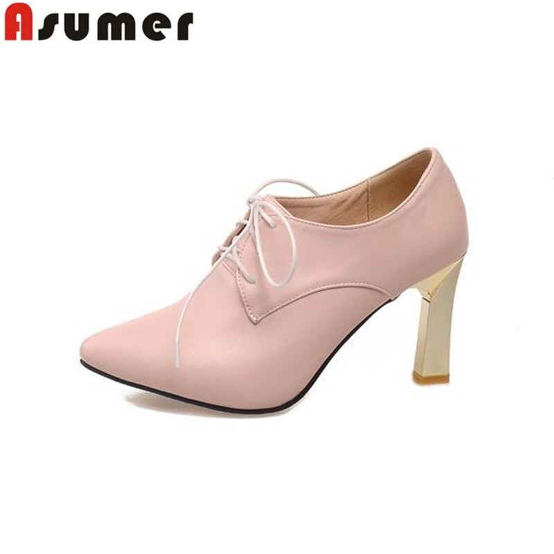 women pumps big size 34-43 summer high heels shoes purple blue pink apricot pointed toe casual shoes thick heels lace up(China (Mainland))