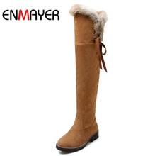 Enmayer negro marrón amarillo invierno botas de nieve zapatos nuevo rebaño en los cargadores de la rodilla para mujeres Size34-39 botas largas zapatos mujeres caliente(China (Mainland))