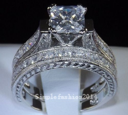 Victoria Wieck Noble Engagement Princess cut  Topaz simulated Diamond 14KT White Gold Filled Wedding Band Ring set Sz 5-11 gift<br><br>Aliexpress