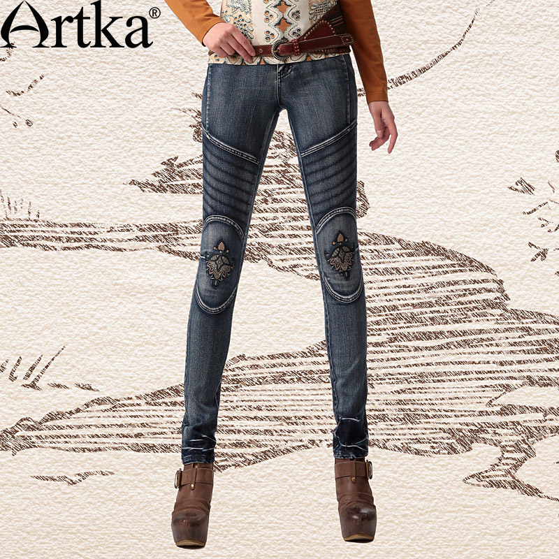 Artka Women's Spring Oriental Ethnic Embroidery Patchwork Washed Stripes Slim Fit Skinny Stretchy Jeans KN10445C(China (Mainland))