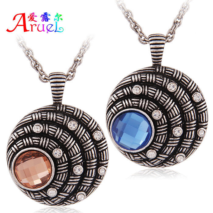 2015 sautoir women accessories fine antique silver chain Jewelry fantasy red blue crystal pendant necklace collares vintage(China (Mainland))
