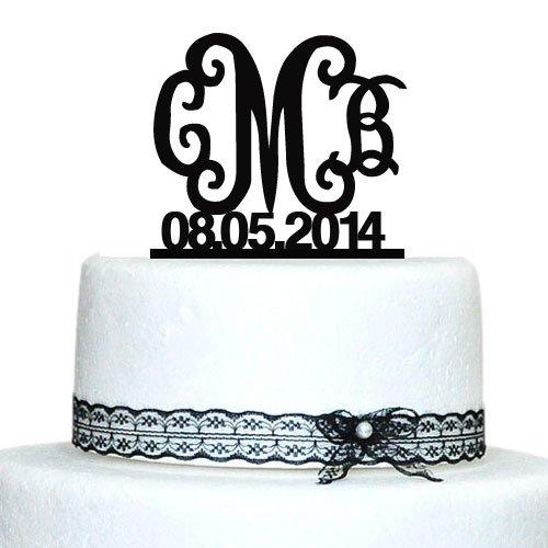 Personalised Birthday Cake Topper,Wedding Cake Decor,Wedding Initial Cake Topper,Custom Cake Topper With Date Black Casamento(China (Mainland))
