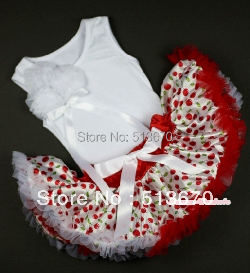 White Baby Pettitop with Bunch of White Rosettes and White Bow &White Cherry Baby Pettiskirt MANG1025