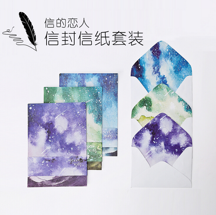 6 pcs/pack Fantastic Milky Way Letter Paper with Envelope Letter Pad Gift Stationery School Office Supply(China (Mainland))
