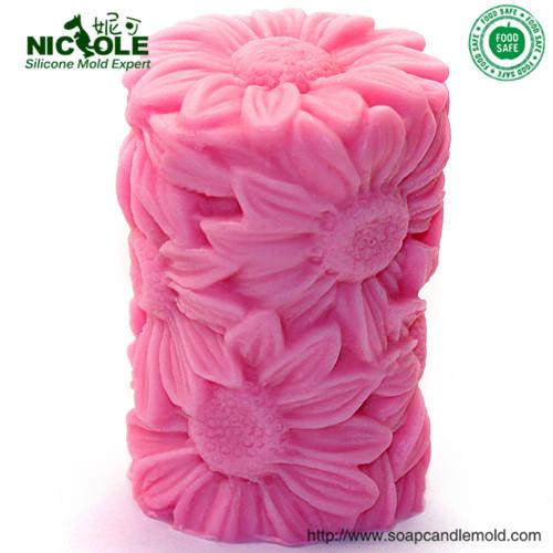Free Shipping Sunflower Silicone Handmade Mold Candle(China (Mainland))