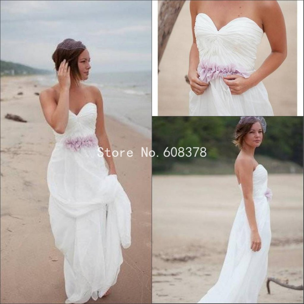 Aliexpress Buy Sweetheart Strapless Summer Beach Wedding Dress Pleated Simple Bridal Gowns