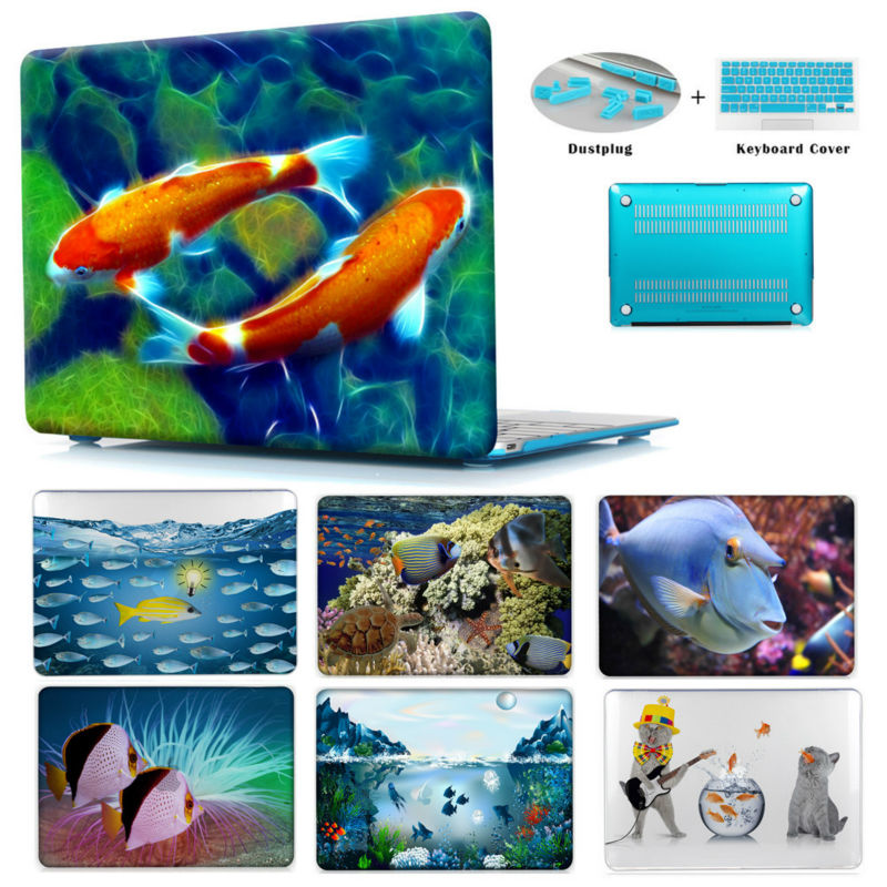 "Ocean Fishes New Colorful Pattern Print Hard Case For Apple Mac book Pro Retina 12 13 15 Clear For Macbook Air 13 Case Air 11.6""(China (Mainland))"