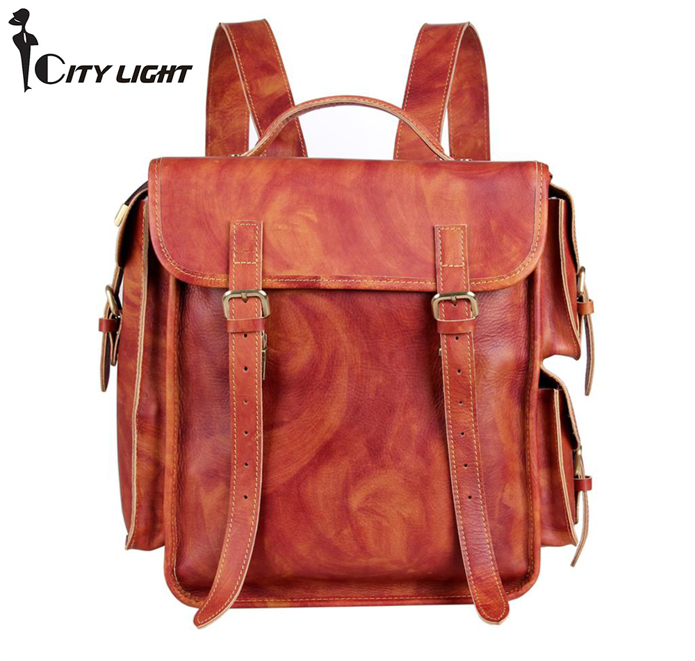 New arrival 2016 High-grade genuine leather backpack  men large capacity leather bags schoolbag travel bags mochila 7238<br>