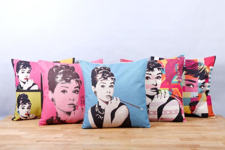 Free Shipping Katharine Hepburn Linen Fabric Office Sofa Pillow Hot Sale New Home Fashion Christmas Decor Gift 45cm Car Cushion