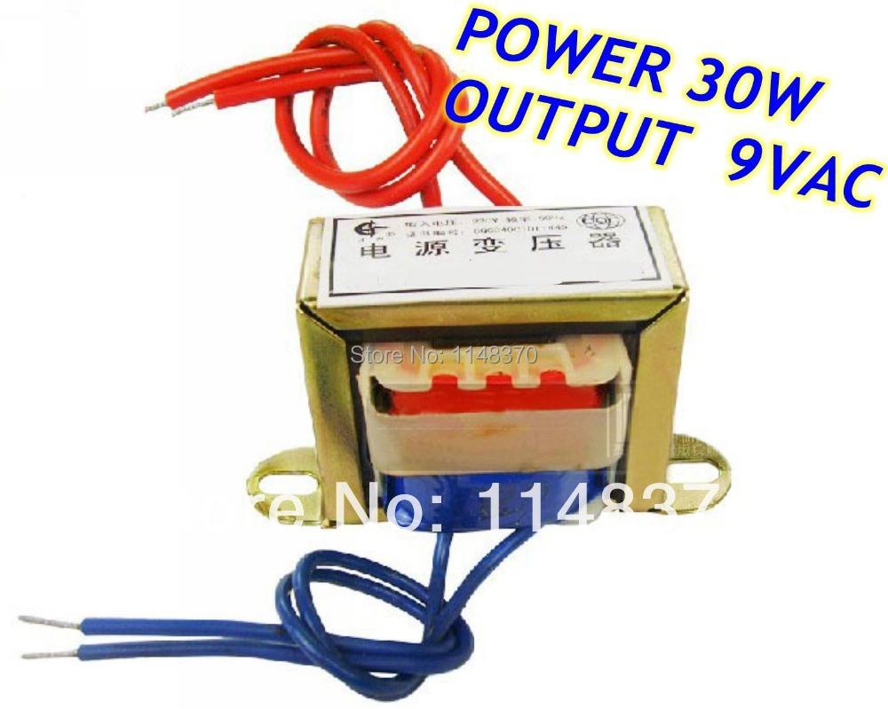 30W EI Ferrite Core Input 220V 50Hz Output 9VAC Vertical Mount Electric Power Transformer