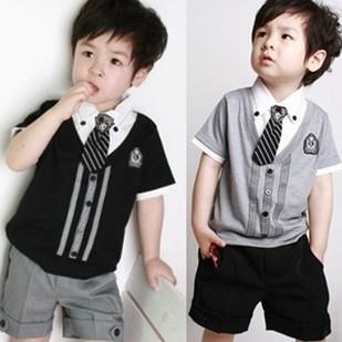 cheapest children baby boys short clothes suits set kids gentleman summer shirt tshirt pants tie sets