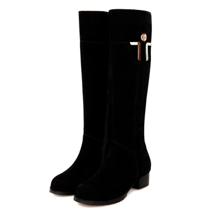 free shipping 2014 Genuine Leather round toe knee-high heel boots women casual fur warm snow motorcycle boots plus size30-44<br><br>Aliexpress